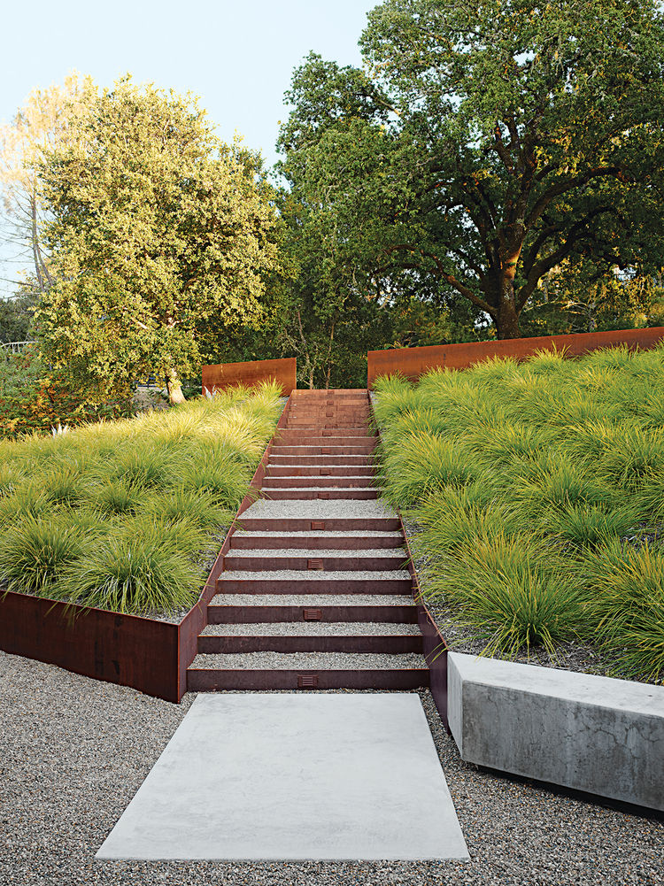 modern landscaping garden california steel staircase concrete walkway