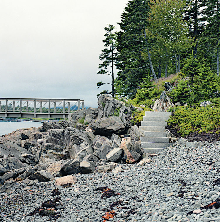 modern landscaping garden northeast granite stairs oceanfront