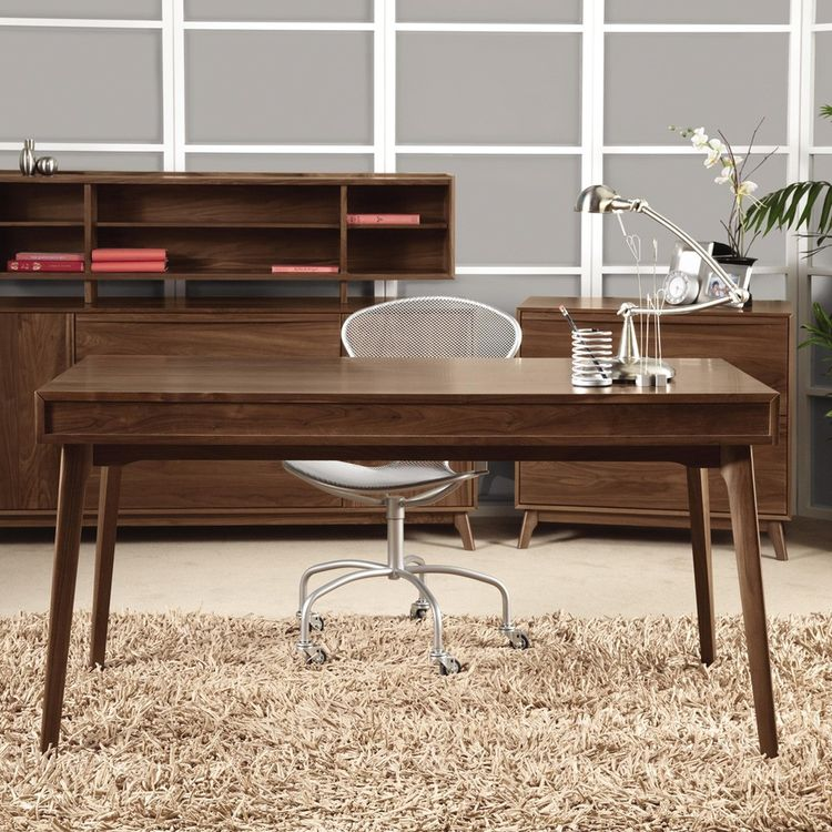 Simple modern desk with thin tabletop and splayed legs