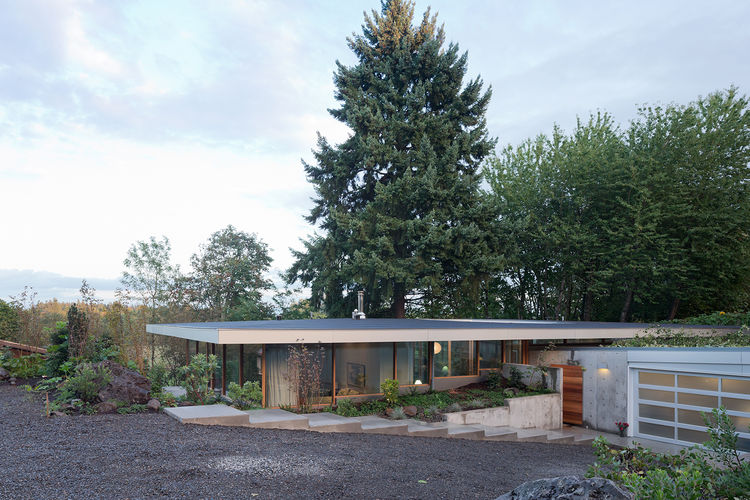 modern entrance driveway green roof