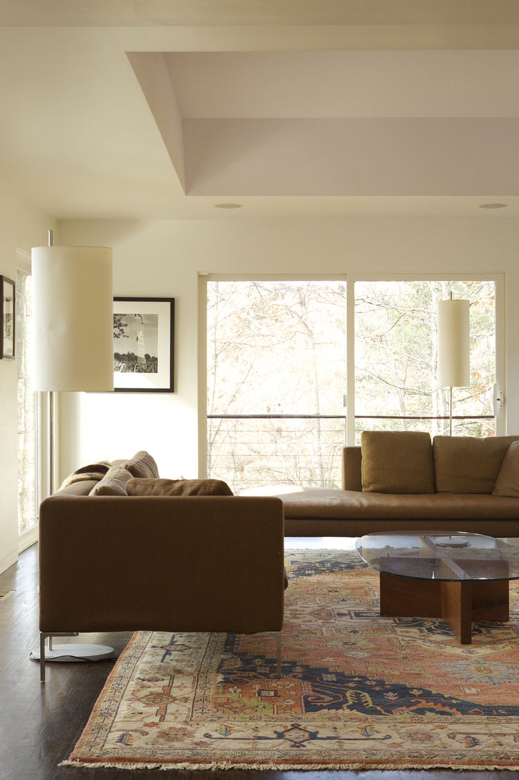 modern living room sofa glass table rug