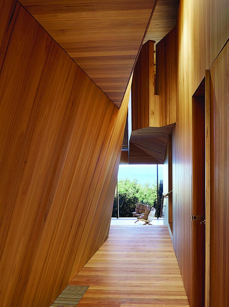 modern fairhaven beach house blackbutt eucalyptus corridor hallway