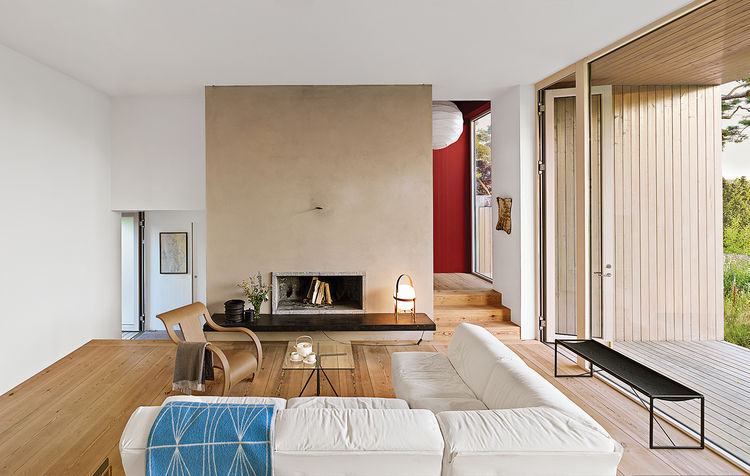 modern fjallbacka sweden pine boxes vacation living room