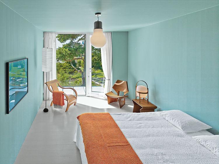 modern fjallbacka sweden pine boxes vacation master bedroom green-gray