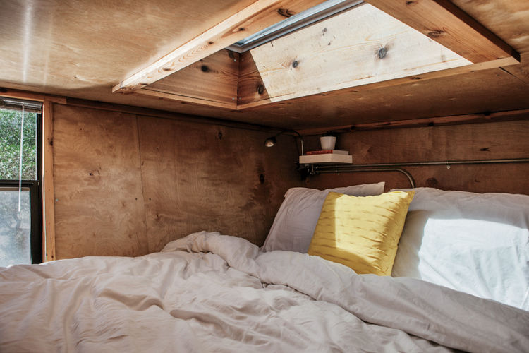 Woody the Trailer bedroom with Velux skylight