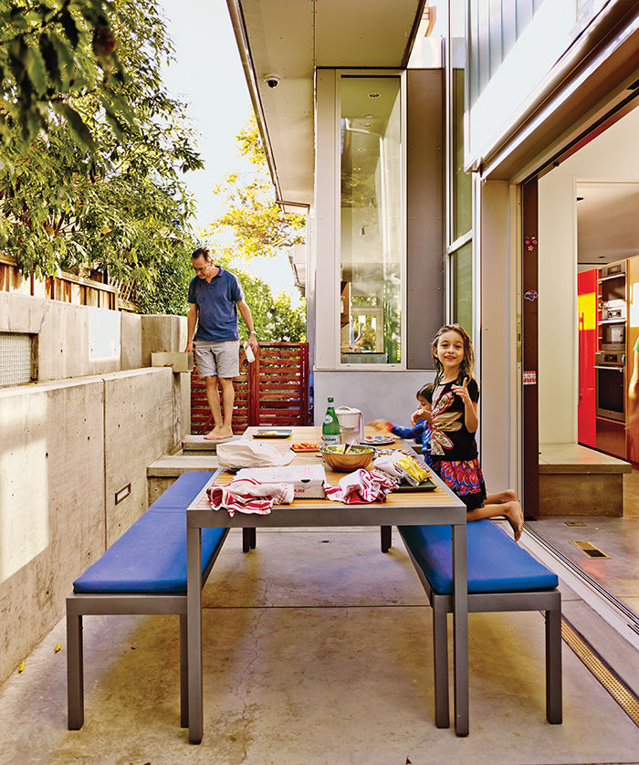 Palo Alto home patio with crate & barrel outdoor table and benches