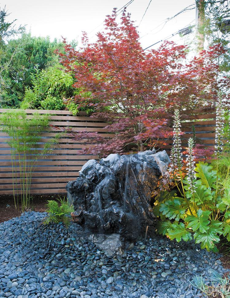 modern outdoor garden boulder fountain