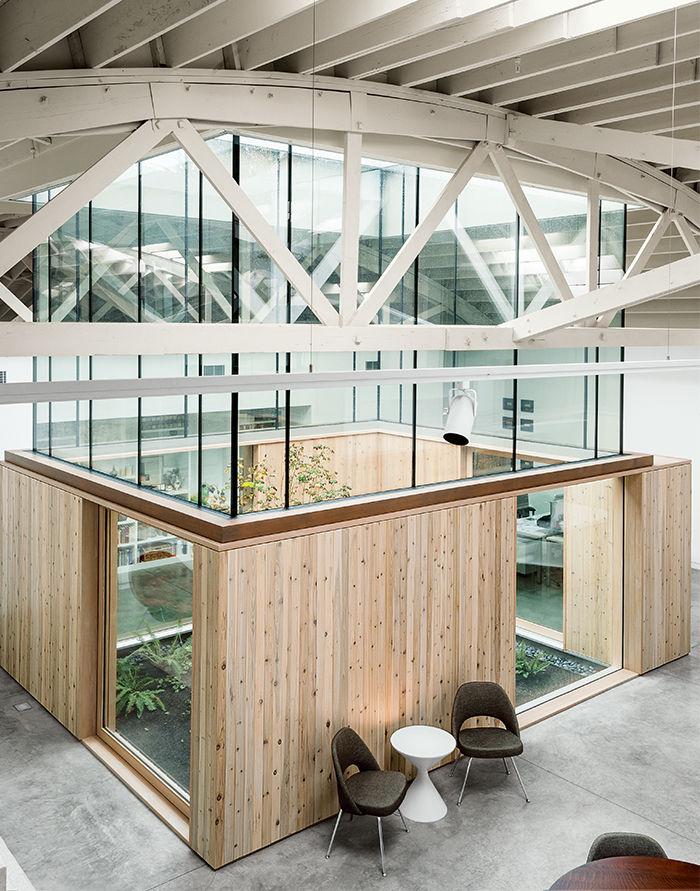 Portland renovated warehouse living areas central atrium.