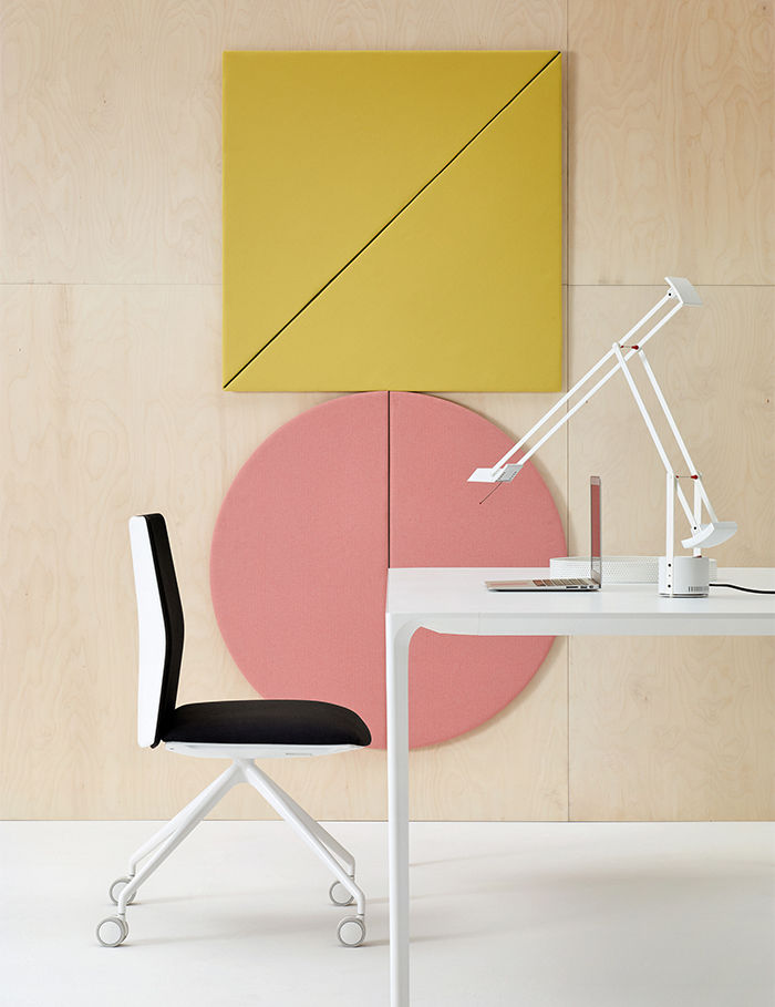 Modern acoustic panels from Arper Parentesit with ambient lighting and spearks and kinesit chairs