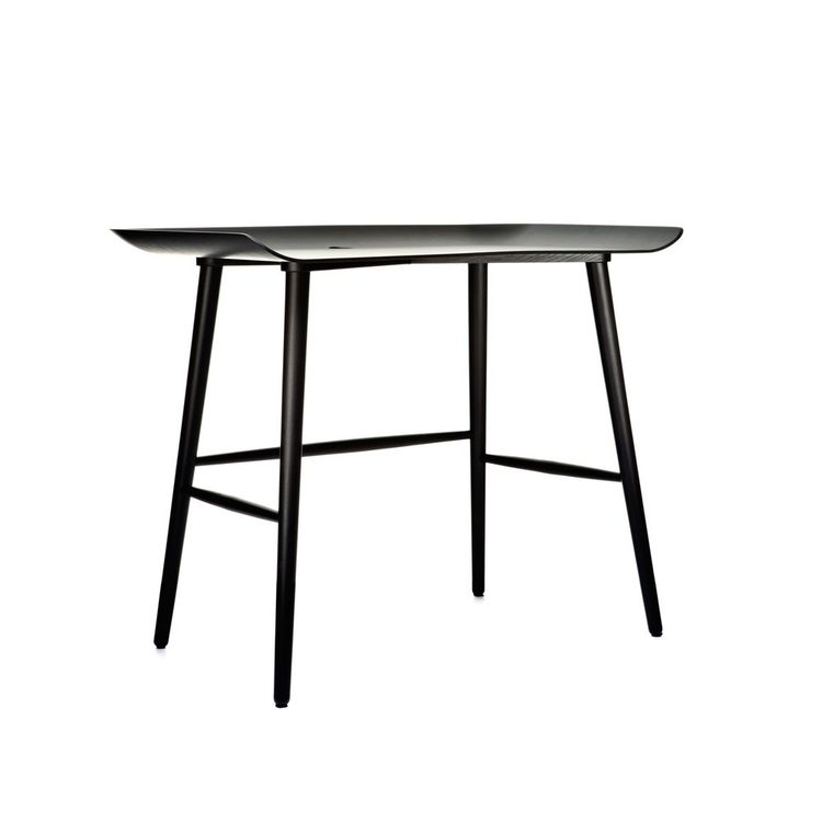 Black-washed modern desk with curved sides