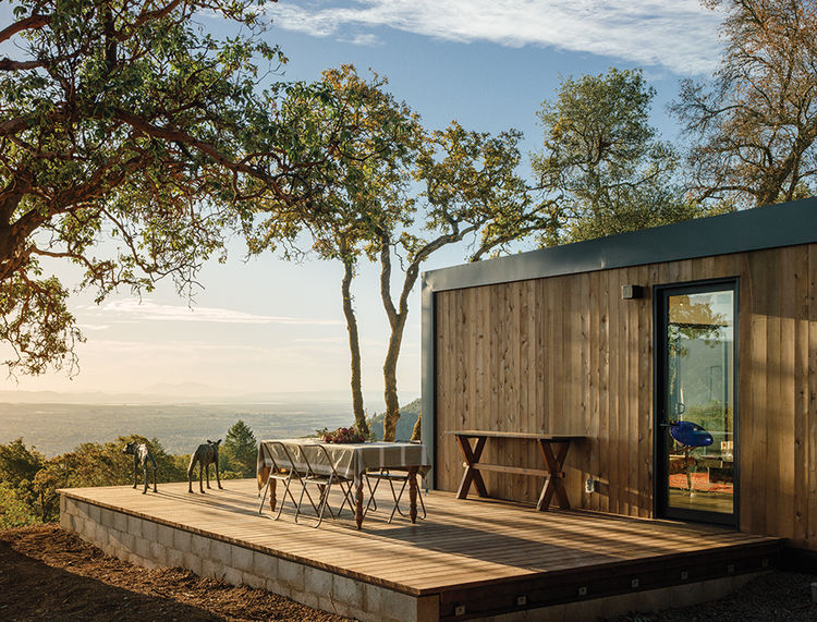 modern design prefab deck red cedar siding sculpture