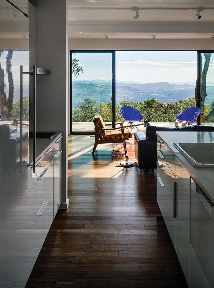 modern design prefab kitchen living room zero steps bamboo flooring glass door