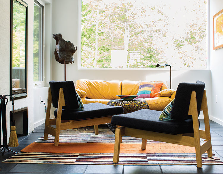 modern sturgeon bay julie brogan wisconsin gathering hall lounge chairs rug
