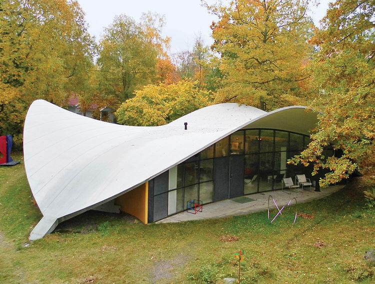 modern yrjo kukkapuro finland artek concrete roofline facade