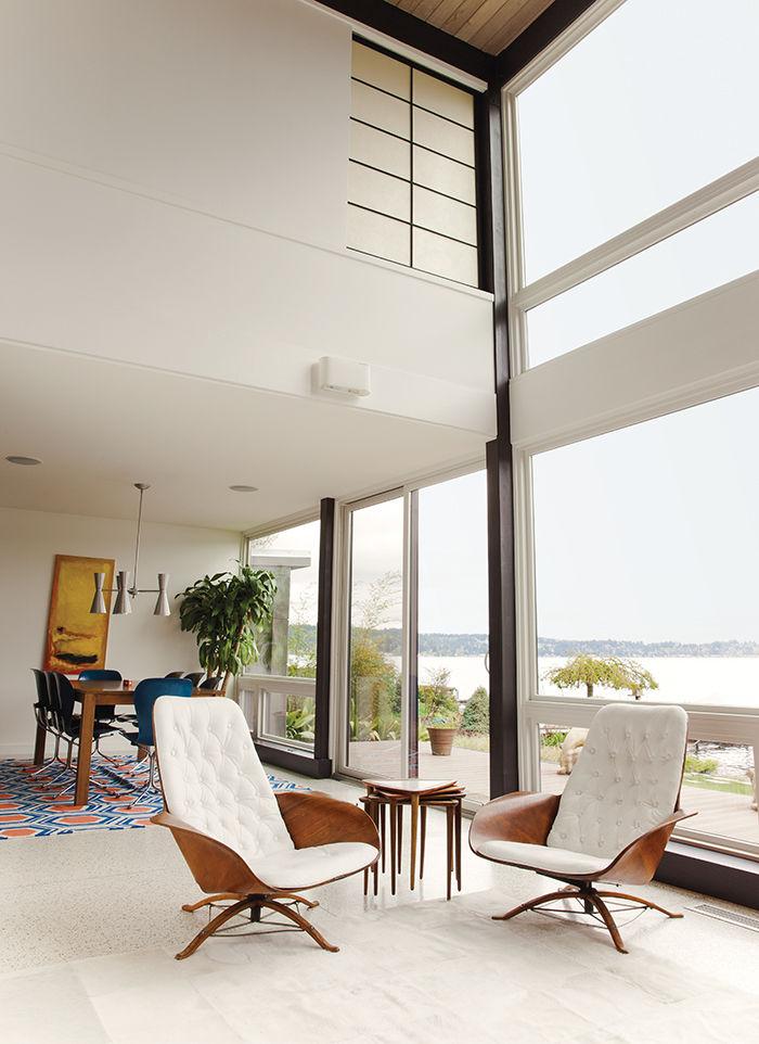 modern renovation aqua lair living room plycraft chairs