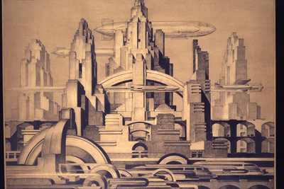 This drawing, Cityscape, from 1920 by the Belgian Edmond van Dooren imagines a future city all vertical towers and zipping lateral movement.