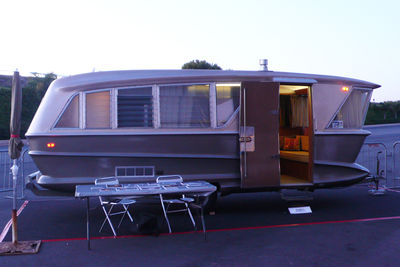 "The original showroom model for the Holiday House trailer, designed in 1960 for David H. Holmes, half of the Harry & David fruit company, by automotive designer Charles Pelly. From <A HREF=""http://designingla.com/"">Designing LA</A>."