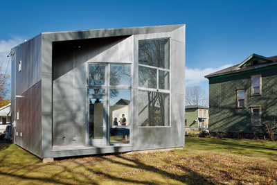 sustainable house with fiber cement and aluminum panels