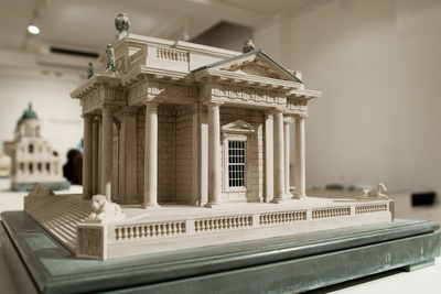 His model of the Casino at Marine Estate in Dublin, Ireland, is 15.75 inches square, 11.5 inches high, and weighs 24 pounds.