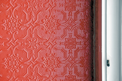 the wrong impression detail embossed wall red