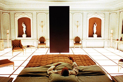 2001: A Space Odyssey (1968)  Directed by Stanley Kubrick Shown: the monolith; foreground: Keir Dullea
