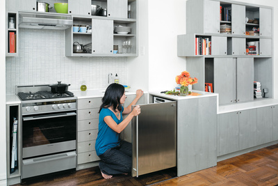 sliding kitchen interior portrait in kitchen