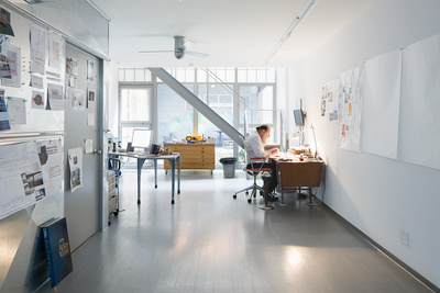 weiner residence portrait at desk