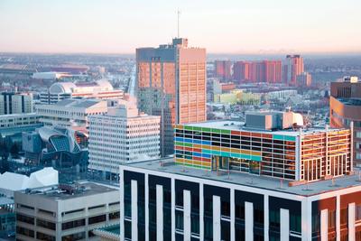 Aerial view of Cambridge Lofts Penthouse in Edmonton, Alberta