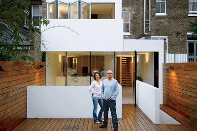 Modern house with white facade in London, England