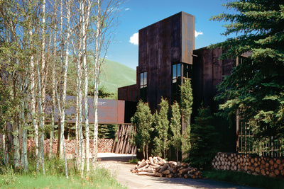 raw steel facade of modern house in Idaho