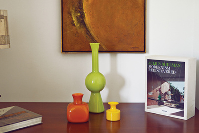 Modern interior with colorful vases