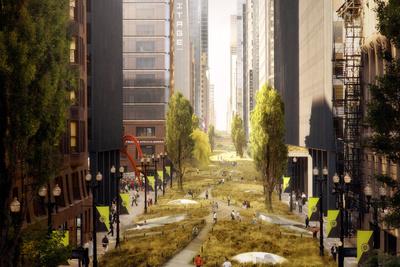 Urban park plan illustration by Röllerhaus Pictureworks & Design Co.