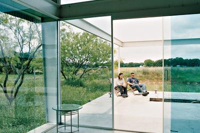 Texas live work studio patio through glass doors