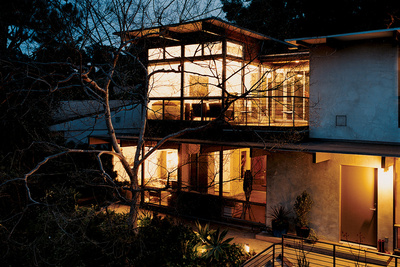 garcetti wakeland house exterior house at night