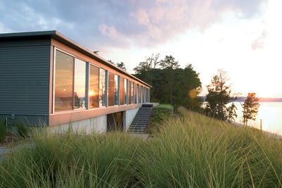 modern River House façade in Virginia