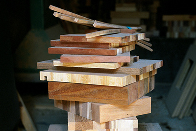 scrapile raw wood glued