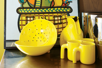 montague residence yellow kitchenware