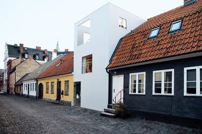 the town house exterior facade street view