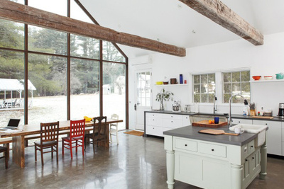 floating farmhouse kitchen dining area