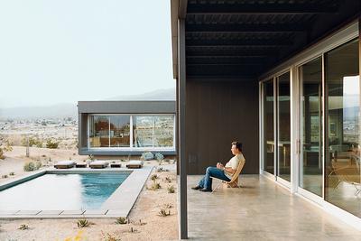 desert house exterior pool portrait