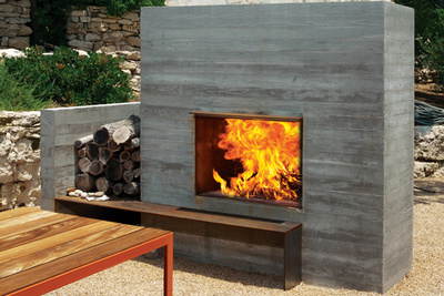 modern outdoor fireplace area with wooden benches rec
