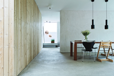 black villa dining room concrete floors