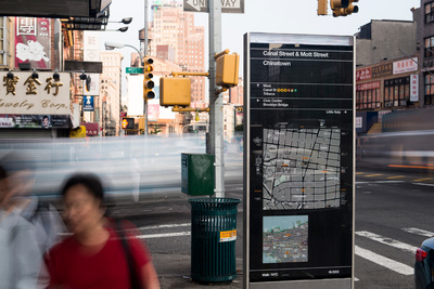 signage for new york city WalkNYC program by Pentagram