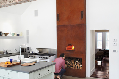 floating farmhouse kitchen dining area custom built wood fired oven