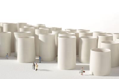 ceramics, white, town, pans, Flemish