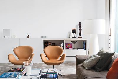chairs, tan, tile, white, walls