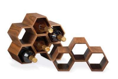 walnut veneer modular wine rack