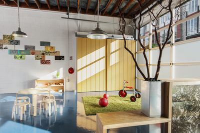 modern preschool with blue floors