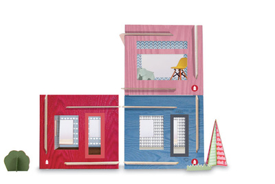 square dollhouses made of colorful paper