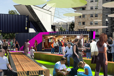 urban pop-up park with shipping containers